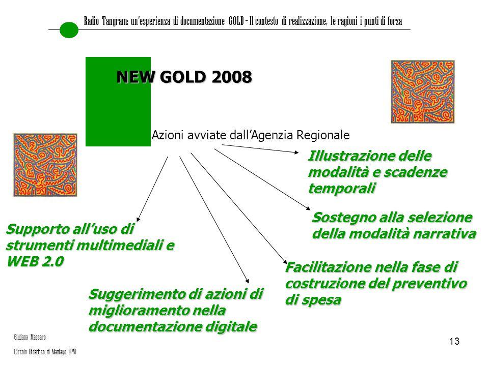 13 Azioni avviate dall'Agenzia Regionale NEW GOLD 2008 Suggerimento di azioni di miglioramento nella documentazione digitale Facilitazione nella fase