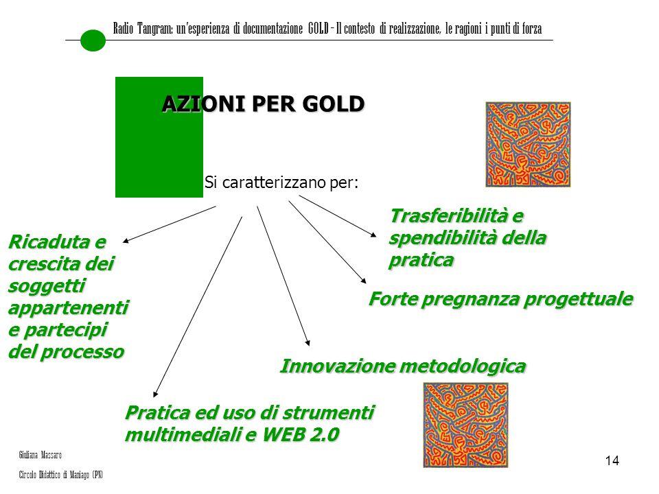 14 Si caratterizzano per: AZIONI PER GOLD Pratica ed uso di strumenti multimediali e WEB 2.0 Innovazione metodologica Trasferibilità e spendibilità de