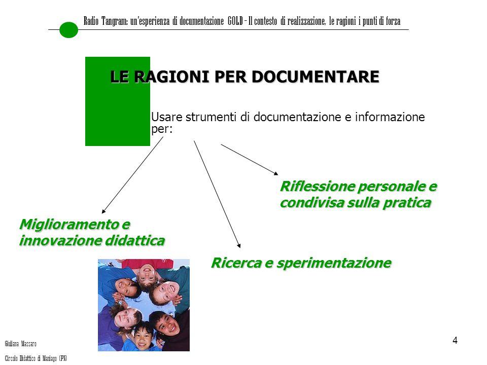 4 Usare strumenti di documentazione e informazione per: LE RAGIONI PER DOCUMENTARE Miglioramento e innovazione didattica Ricerca e sperimentazione Rif
