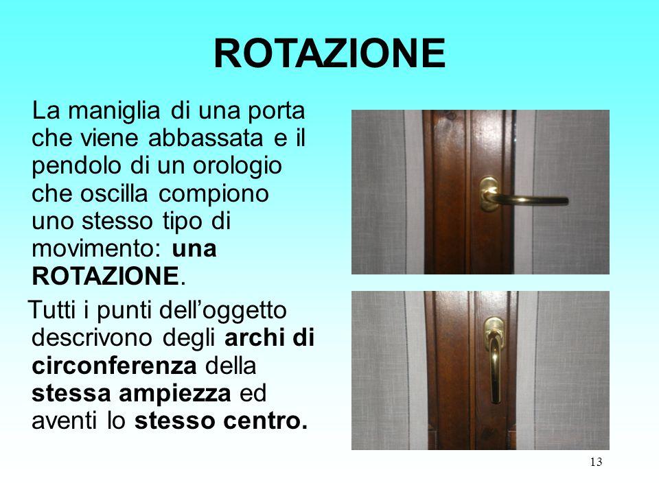 13 ROTAZIONE La maniglia di una porta che viene abbassata e il pendolo di un orologio che oscilla compiono uno stesso tipo di movimento: una ROTAZIONE
