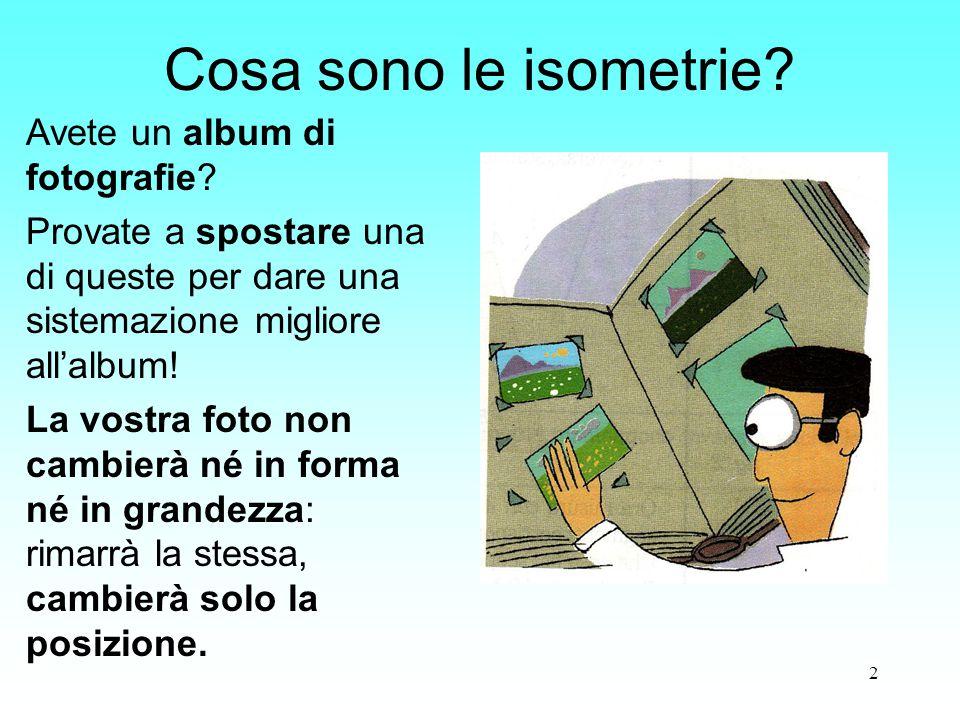 2 Cosa sono le isometrie? Avete un album di fotografie? Provate a spostare una di queste per dare una sistemazione migliore all'album! La vostra foto