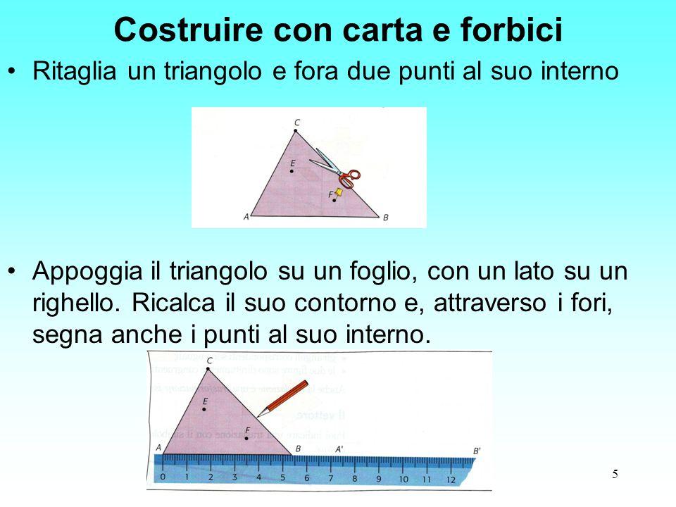 5 Costruire con carta e forbici Ritaglia un triangolo e fora due punti al suo interno Appoggia il triangolo su un foglio, con un lato su un righello.