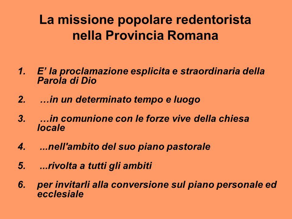 La missione popolare redentorista nella Provincia Romana 1.