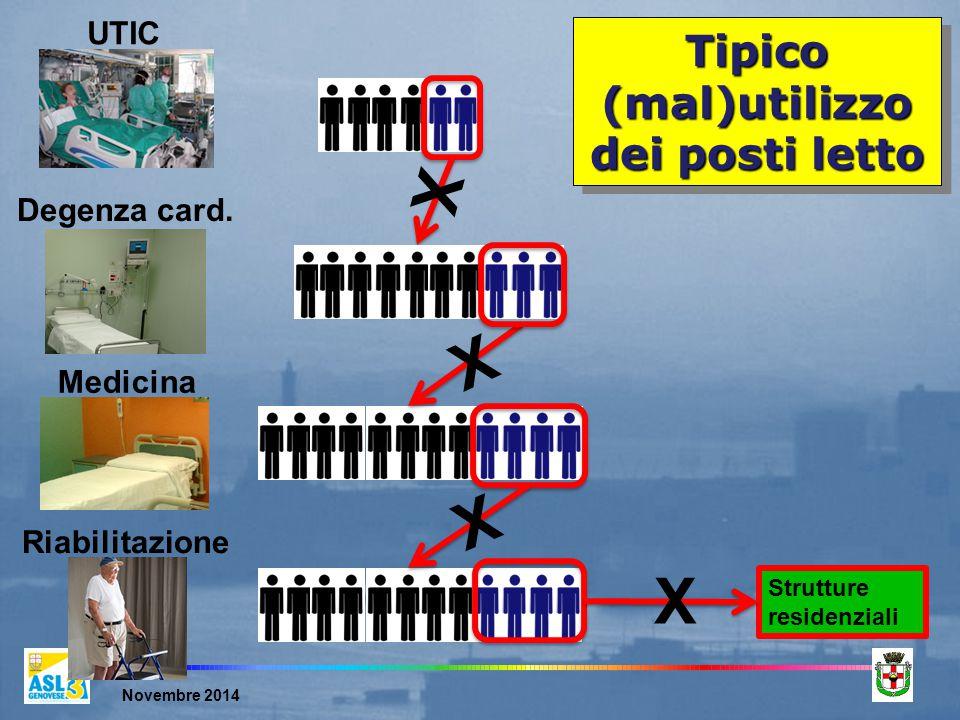 Novembre 2014 Tipico (mal)utilizzo dei posti letto UTIC Strutture residenziali X Medicina Riabilitazione X X Degenza card.
