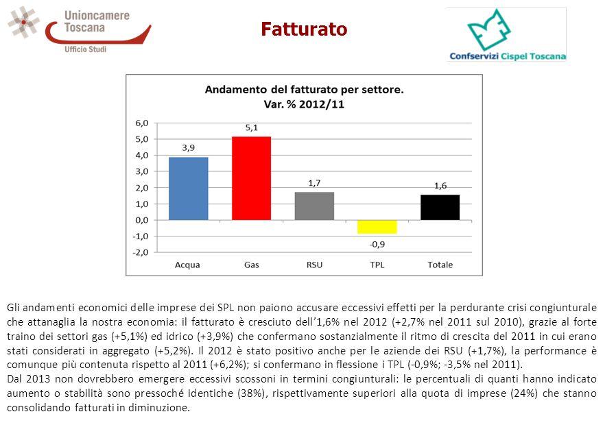 Fatturato Gli andamenti economici delle imprese dei SPL non paiono accusare eccessivi effetti per la perdurante crisi congiunturale che attanaglia la nostra economia: il fatturato è cresciuto dell'1,6% nel 2012 (+2,7% nel 2011 sul 2010), grazie al forte traino dei settori gas (+5,1%) ed idrico (+3,9%) che confermano sostanzialmente il ritmo di crescita del 2011 in cui erano stati considerati in aggregato (+5,2%).