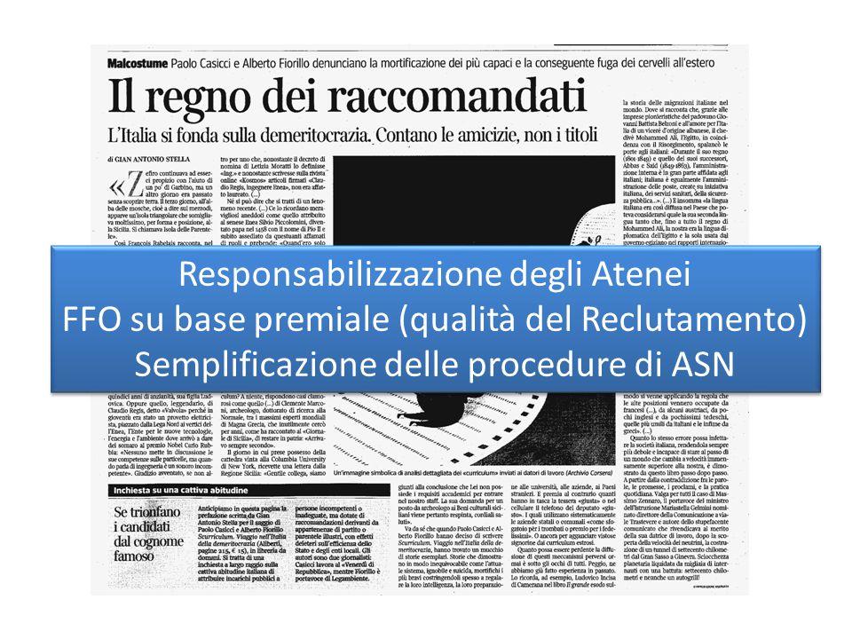Responsabilizzazione degli Atenei FFO su base premiale (qualità del Reclutamento) Semplificazione delle procedure di ASN Responsabilizzazione degli Atenei FFO su base premiale (qualità del Reclutamento) Semplificazione delle procedure di ASN