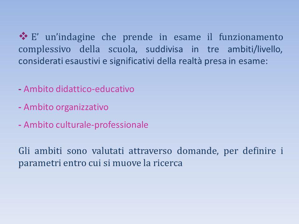  E' un'indagine che prende in esame il funzionamento complessivo della scuola, suddivisa in tre ambiti/livello, considerati esaustivi e significativi