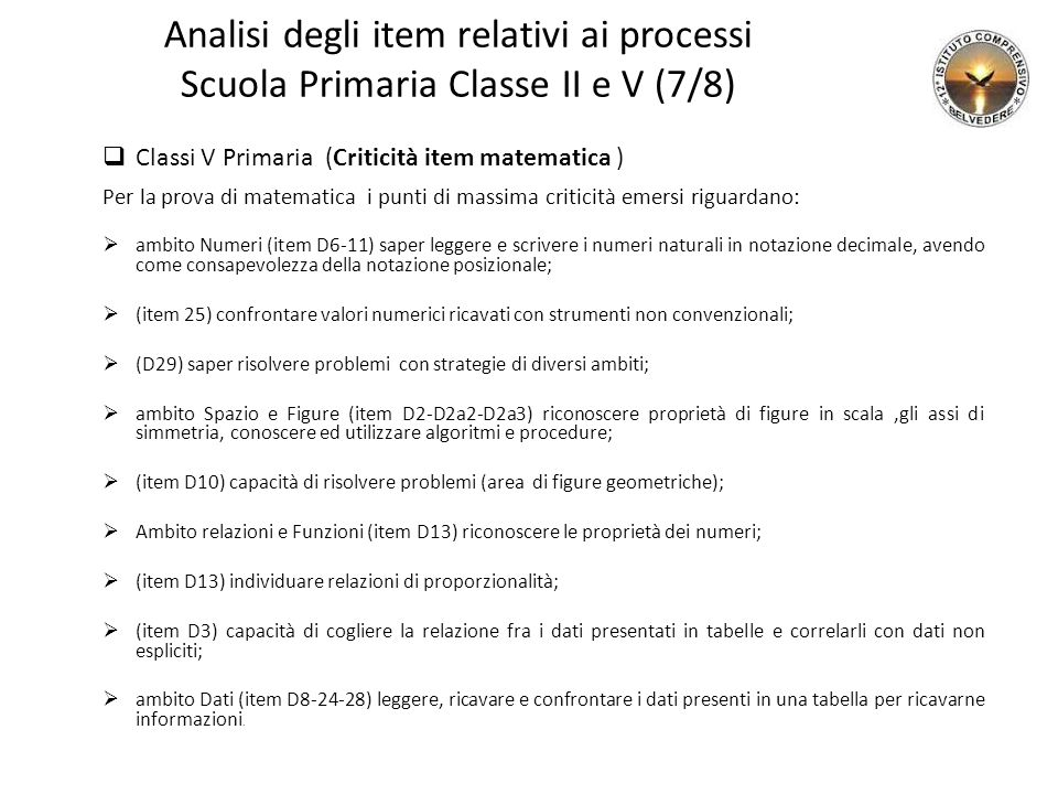 Analisi degli item relativi ai processi Scuola Primaria Classe II e V (7/8)  Classi V Primaria (Criticità item matematica ) Per la prova di matematic