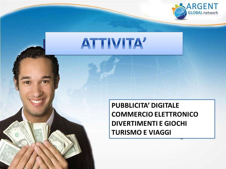 PUBBLICITA' DIGITALE COMMERCIO ELETTRONICO DIVERTIMENTI E GIOCHI TURISMO E VIAGGI