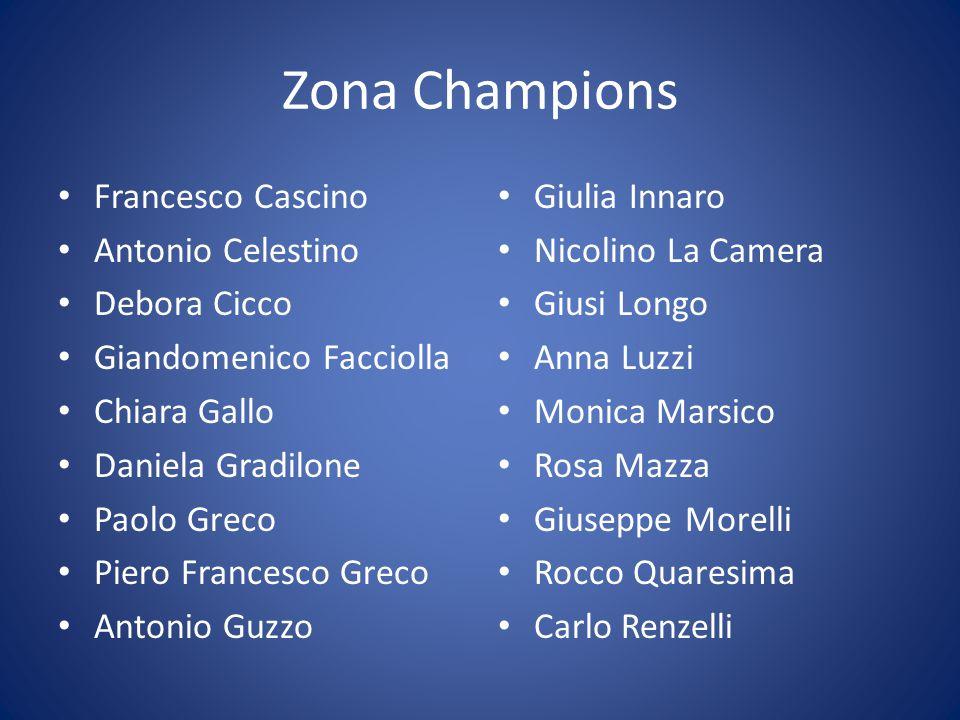 Zona Champions Roberta Rocca Paola Russo Christian Scaglione Azzurra Scozzafava Elia Serra Jessica Sonetto Miriana Soverina Marzia Spadafora Luigi Talerico