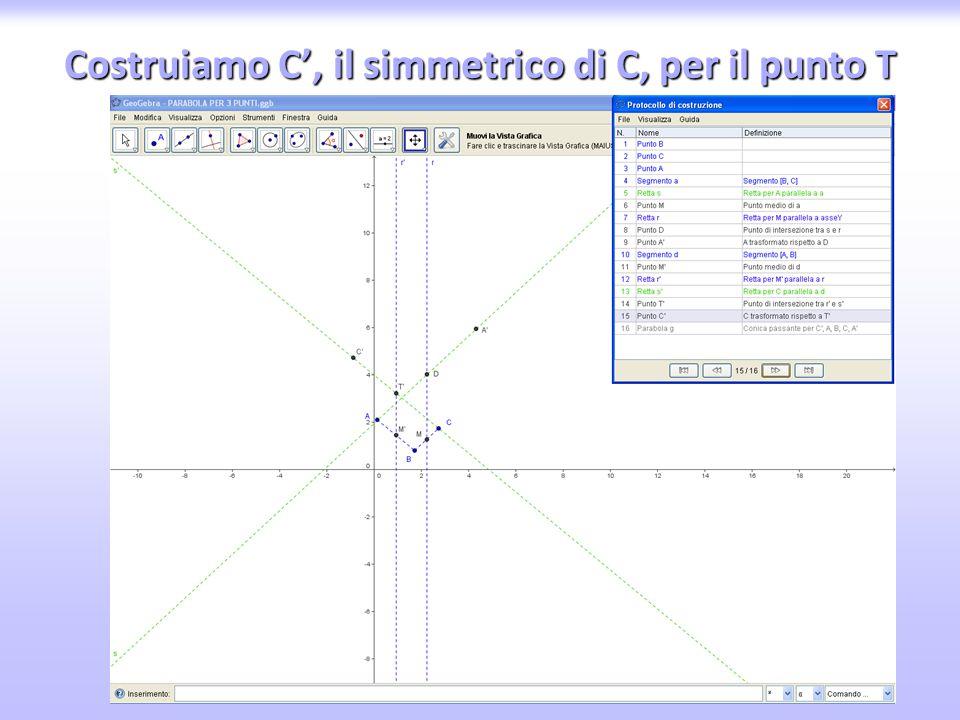 Costruiamo C', il simmetrico di C, per il punto T