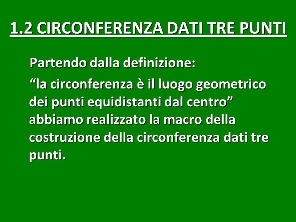1.2 CIRCONFERENZA DATI TRE PUNTI Partendo dalla definizione: la circonferenza è il luogo geometrico dei punti equidistanti dal centro abbiamo realizzato la macro della costruzione della circonferenza dati tre punti.