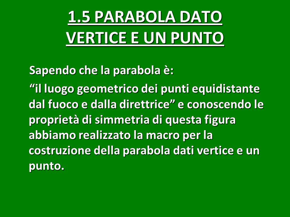 1.5 PARABOLA DATO VERTICE E UN PUNTO Sapendo che la parabola è: il luogo geometrico dei punti equidistante dal fuoco e dalla direttrice e conoscendo le proprietà di simmetria di questa figura abbiamo realizzato la macro per la costruzione della parabola dati vertice e un punto.