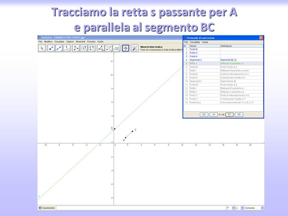 Tracciamo la retta s passante per A e parallela al segmento BC