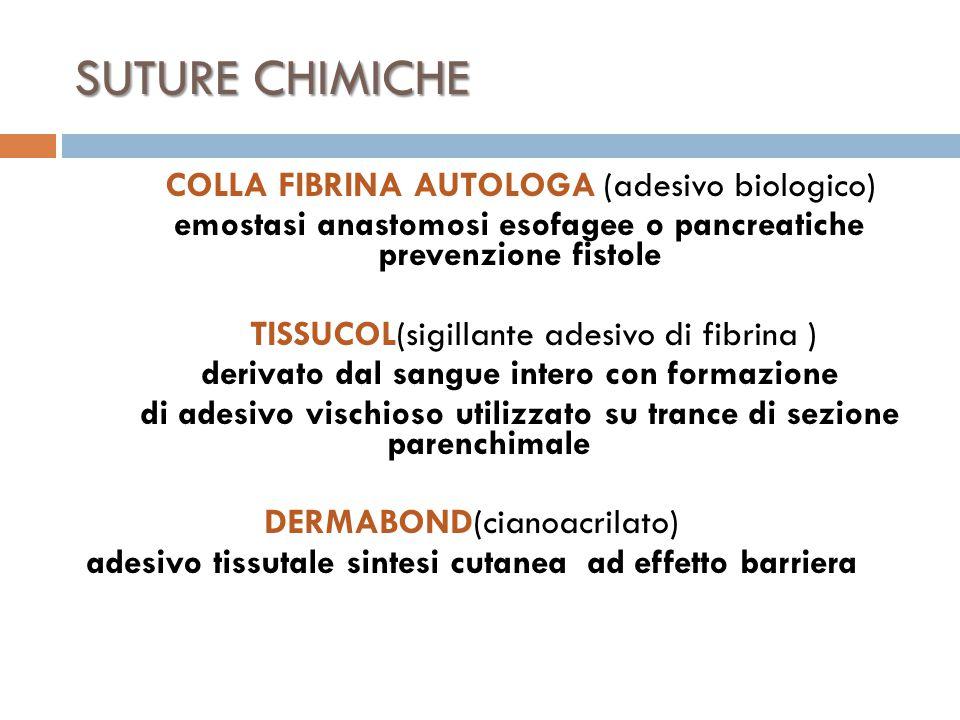 SUTURE CHIMICHE COLLA FIBRINA AUTOLOGA (adesivo biologico) emostasi anastomosi esofagee o pancreatiche prevenzione fistole TISSUCOL(sigillante adesivo di fibrina ) derivato dal sangue intero con formazione di adesivo vischioso utilizzato su trance di sezione parenchimale DERMABOND(cianoacrilato) adesivo tissutale sintesi cutanea ad effetto barriera