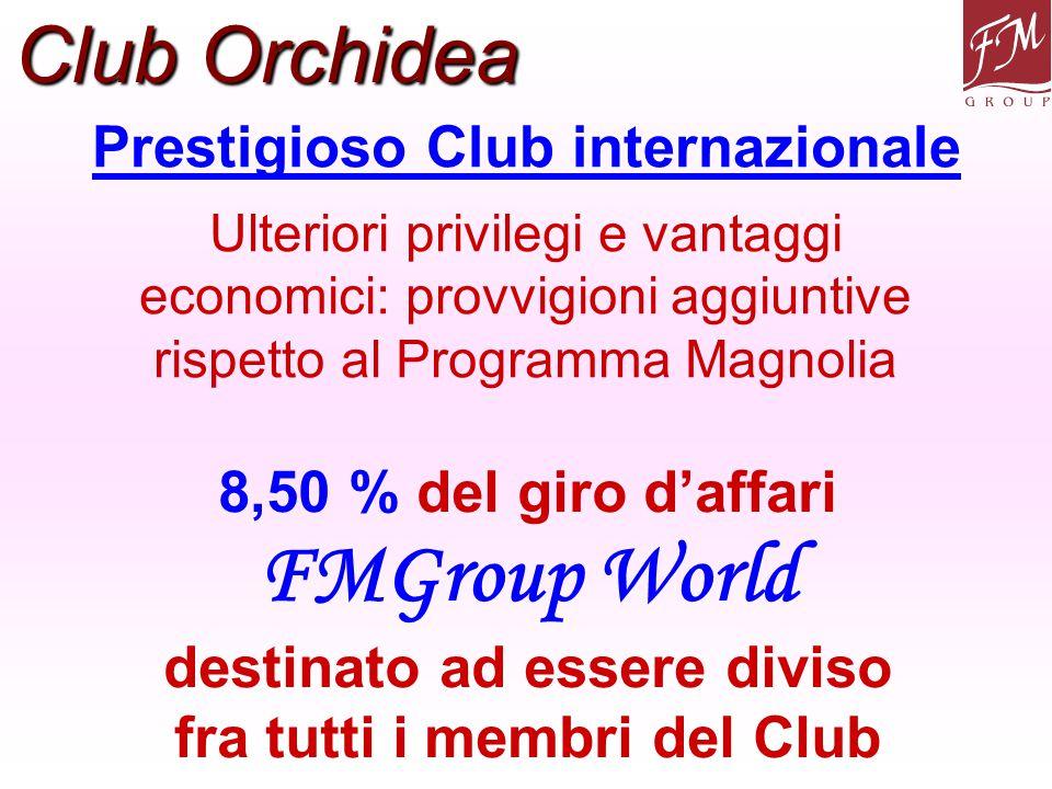 Prestigioso Club internazionale Club Orchidea Ulteriori privilegi e vantaggi economici: provvigioni aggiuntive rispetto al Programma Magnolia 8,50 % d