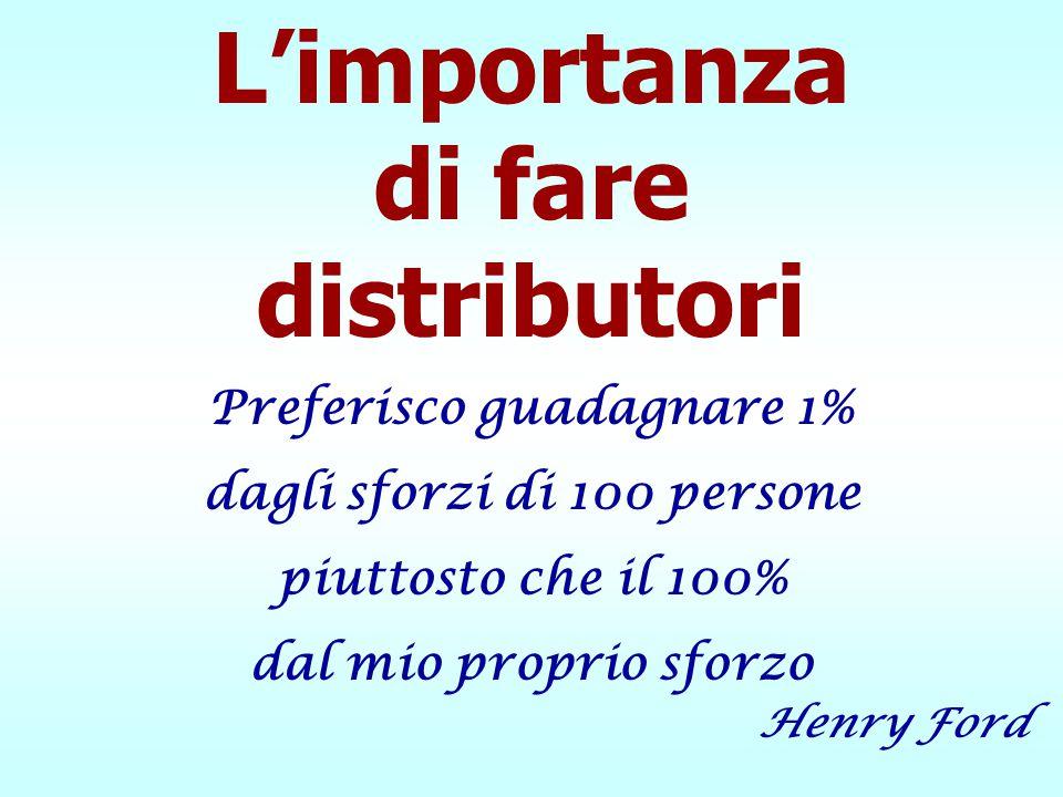L'importanza di fare distributori Preferisco guadagnare 1% dagli sforzi di 100 persone piuttosto che il 100% dal mio proprio sforzo Henry Ford