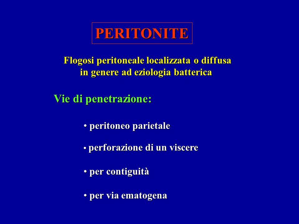 PERITONITE Flogosi peritoneale localizzata o diffusa in genere ad eziologia batterica Vie di penetrazione: peritoneo parietale peritoneo parietale per