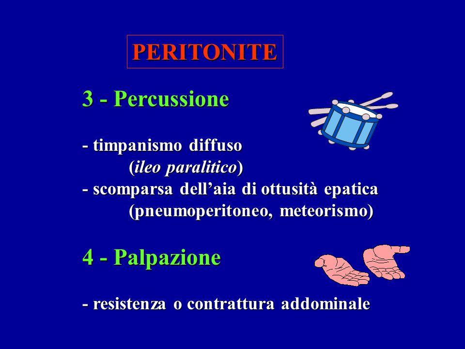 PERITONITE 3 - Percussione - timpanismo diffuso (ileo paralitico) - scomparsa dell'aia di ottusità epatica (pneumoperitoneo, meteorismo) 4 - Palpazion
