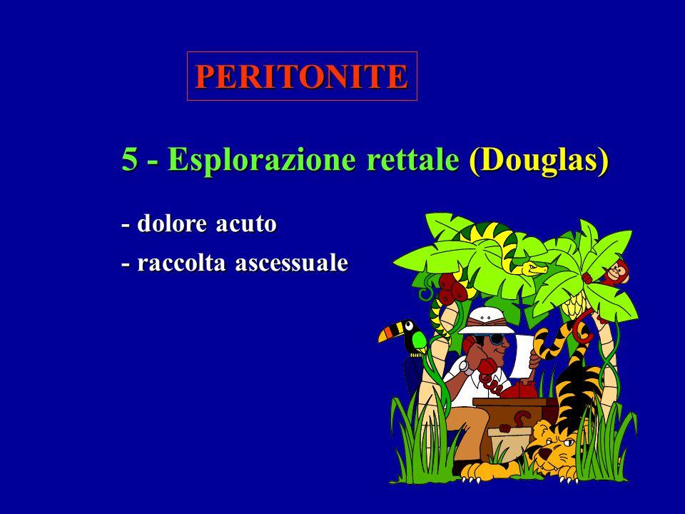 PERITONITE 5 - Esplorazione rettale (Douglas) - dolore acuto - raccolta ascessuale