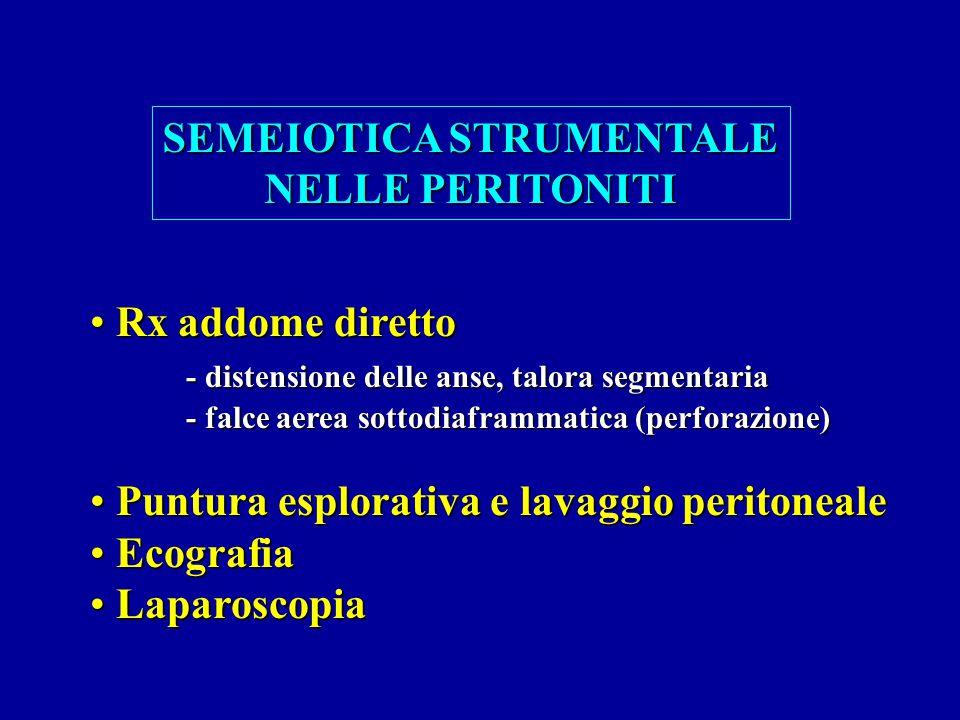 SEMEIOTICA STRUMENTALE NELLE PERITONITI Rx addome diretto Rx addome diretto - distensione delle anse, talora segmentaria - falce aerea sottodiaframmat
