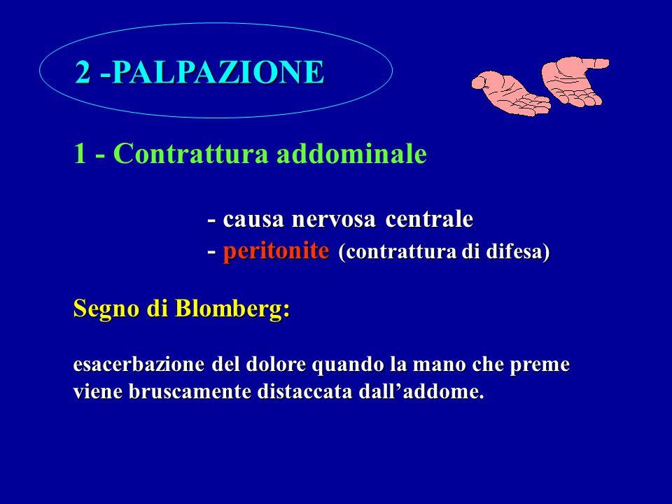 2 -PALPAZIONE 1 - Contrattura addominale - causa nervosa centrale - peritonite (contrattura di difesa) Segno di Blomberg: esacerbazione del dolore qua