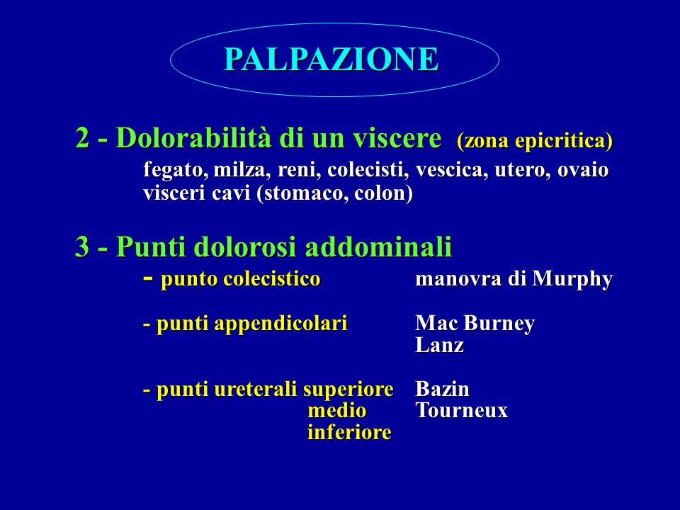 PALPAZIONE 2 - Dolorabilità di un viscere (zona epicritica) fegato, milza, reni, colecisti, vescica, utero, ovaio visceri cavi (stomaco, colon) 3 - Pu