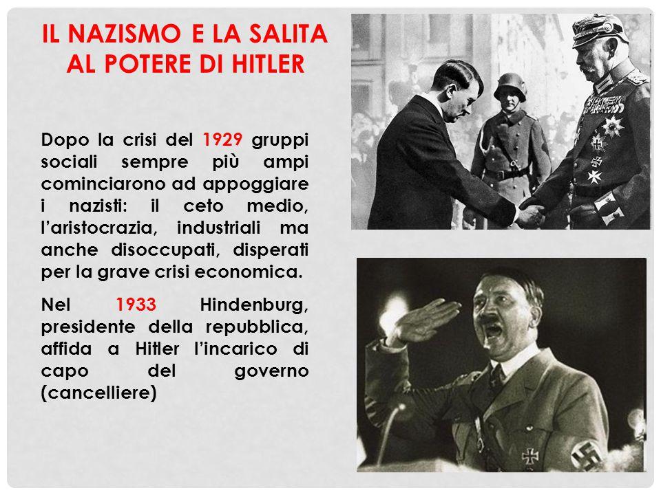 Dopo la crisi del 1929 gruppi sociali sempre più ampi cominciarono ad appoggiare i nazisti: il ceto medio, l'aristocrazia, industriali ma anche disocc