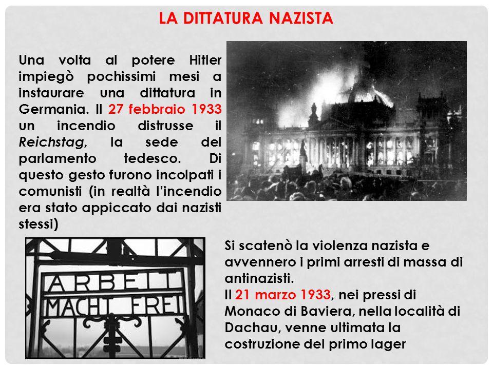 LA DITTATURA NAZISTA Una volta al potere Hitler impiegò pochissimi mesi a instaurare una dittatura in Germania. Il 27 febbraio 1933 un incendio distru