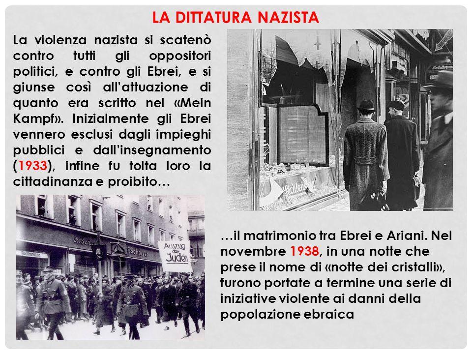 LA DITTATURA NAZISTA La violenza nazista si scatenò contro tutti gli oppositori politici, e contro gli Ebrei, e si giunse così all'attuazione di quant