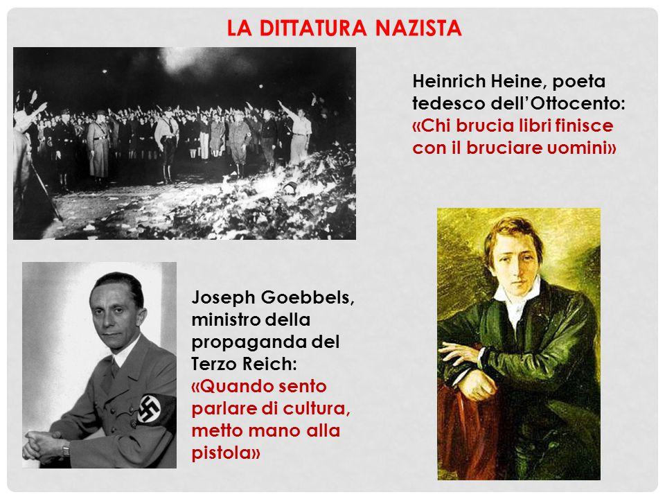 Joseph Goebbels, ministro della propaganda del Terzo Reich: «Quando sento parlare di cultura, metto mano alla pistola» Heinrich Heine, poeta tedesco d
