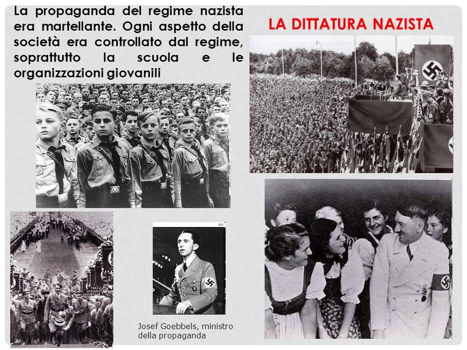 Josef Goebbels, ministro della propaganda La propaganda del regime nazista era martellante. Ogni aspetto della società era controllato dal regime, sop
