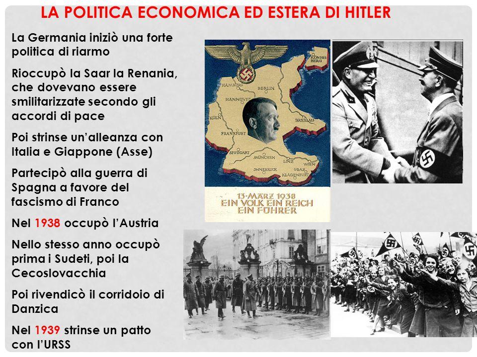 LA POLITICA ECONOMICA ED ESTERA DI HITLER La Germania iniziò una forte politica di riarmo Rioccupò la Saar la Renania, che dovevano essere smilitarizz