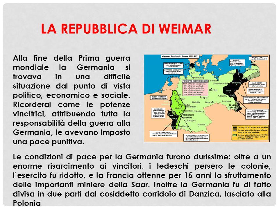 Mentre gli eserciti degli imperi centrali stavano perdendo la guerra, in Germania vi fu una rivoluzione che portò, nel novembre 1918, al crollo dell'impero (il Reich) e all'instaurazione di una repubblica, che prese il nome della città in cui venne trasferita la capitale, Weimar LA REPUBBLICA DI WEIMAR