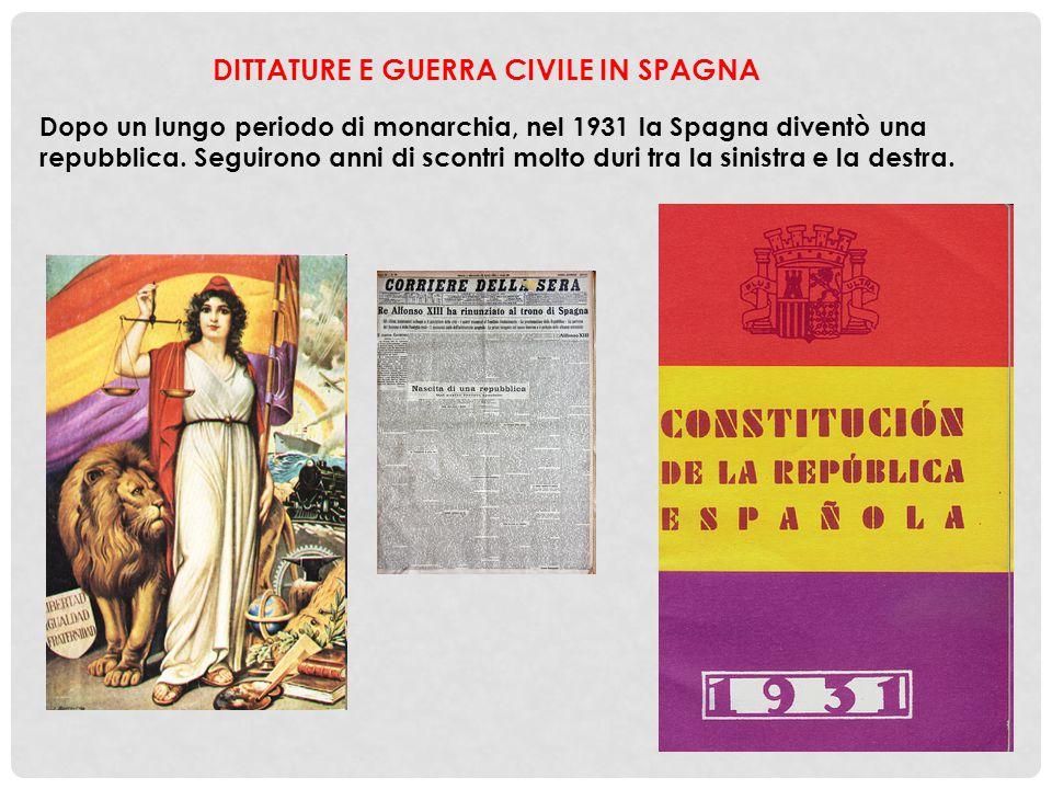 Dopo un lungo periodo di monarchia, nel 1931 la Spagna diventò una repubblica. Seguirono anni di scontri molto duri tra la sinistra e la destra.