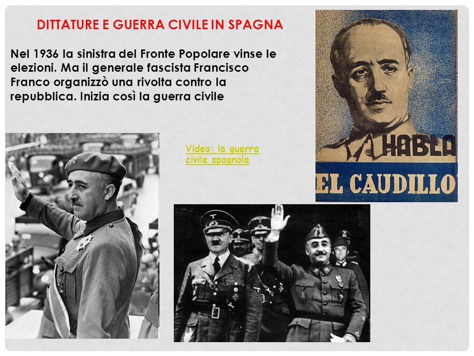 DITTATURE E GUERRA CIVILE IN SPAGNA Nel 1936 la sinistra del Fronte Popolare vinse le elezioni. Ma il generale fascista Francisco Franco organizzò una