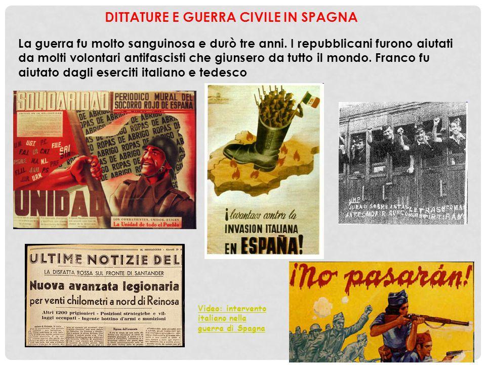 DITTATURE E GUERRA CIVILE IN SPAGNA La guerra fu molto sanguinosa e durò tre anni. I repubblicani furono aiutati da molti volontari antifascisti che g