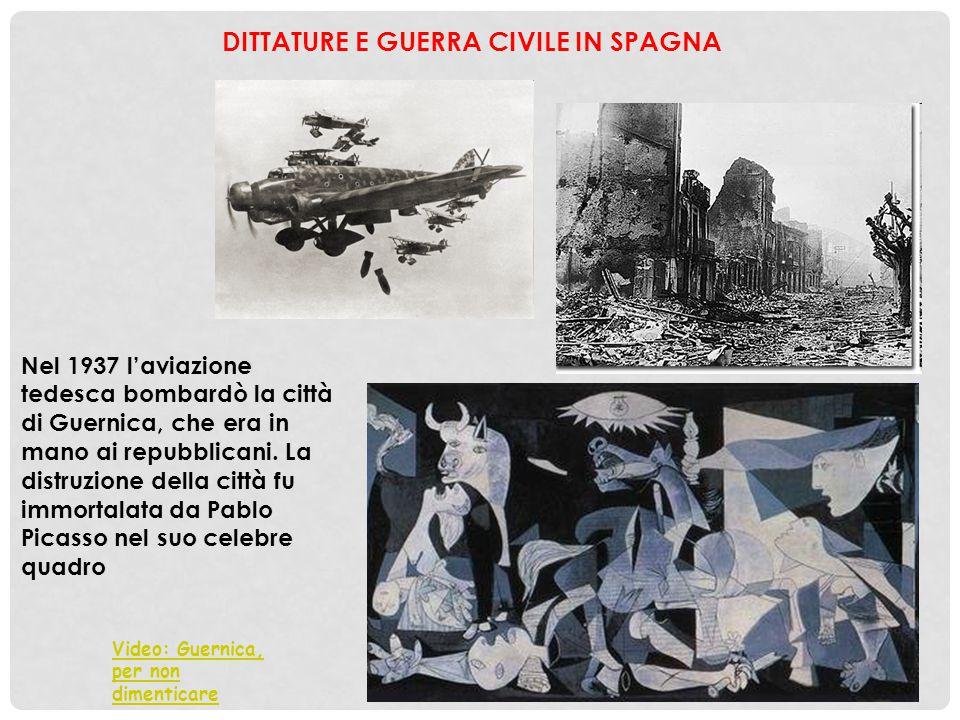 Nel 1937 l'aviazione tedesca bombardò la città di Guernica, che era in mano ai repubblicani. La distruzione della città fu immortalata da Pablo Picass