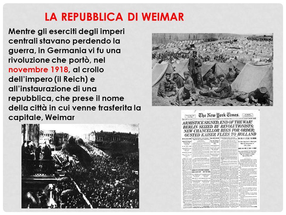 Mentre gli eserciti degli imperi centrali stavano perdendo la guerra, in Germania vi fu una rivoluzione che portò, nel novembre 1918, al crollo dell'i