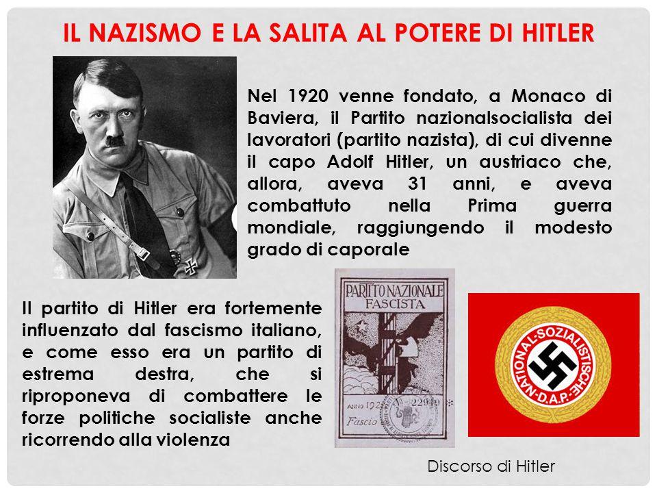 IL NAZISMO E LA SALITA AL POTERE DI HITLER Nel 1920 venne fondato, a Monaco di Baviera, il Partito nazionalsocialista dei lavoratori (partito nazista)
