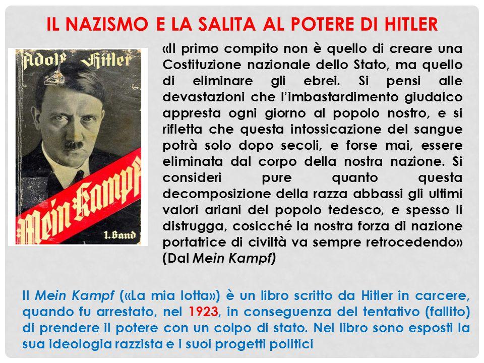 IL NAZISMO E LA SALITA AL POTERE DI HITLER «Il primo compito non è quello di creare una Costituzione nazionale dello Stato, ma quello di eliminare gli