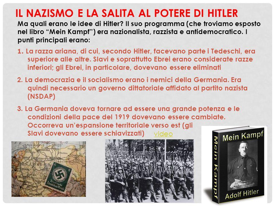 """IL NAZISMO E LA SALITA AL POTERE DI HITLER Ma quali erano le idee di Hitler? Il suo programma (che troviamo esposto nel libro """"Mein Kampf"""") era nazion"""