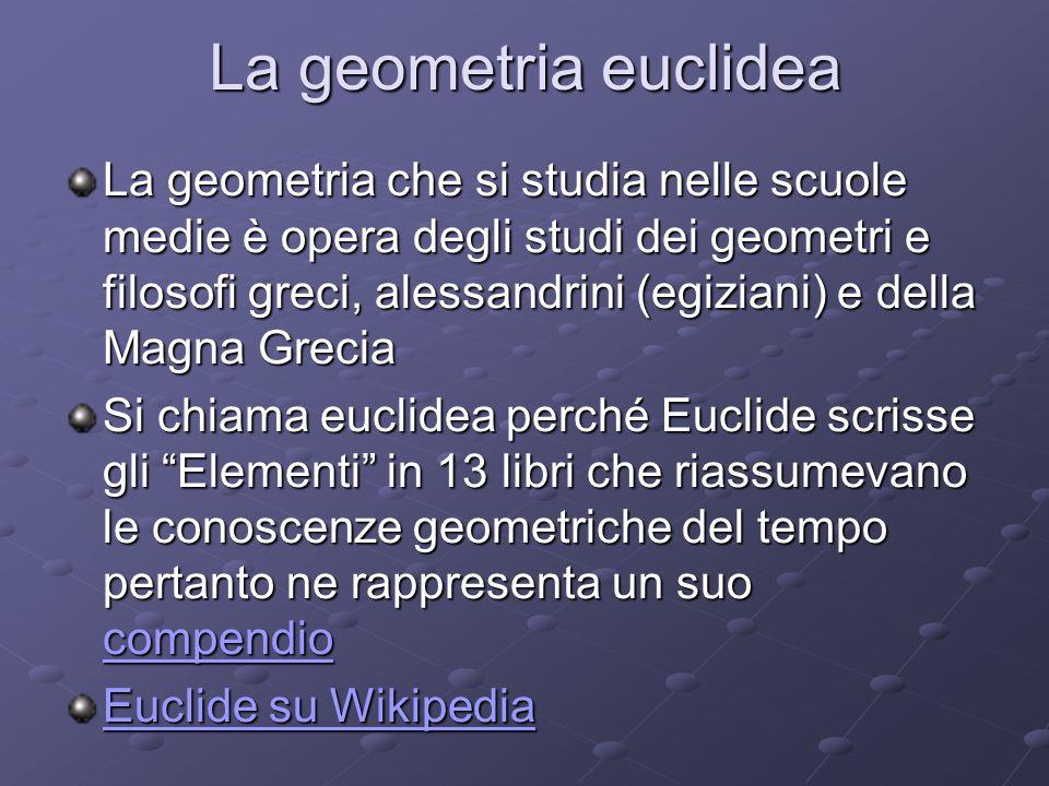 La geometria euclidea La geometria che si studia nelle scuole medie è opera degli studi dei geometri e filosofi greci, alessandrini (egiziani) e della Magna Grecia Si chiama euclidea perché Euclide scrisse gli Elementi in 13 libri che riassumevano le conoscenze geometriche del tempo pertanto ne rappresenta un suo compendio compendio Euclide su Wikipedia Euclide su Wikipedia
