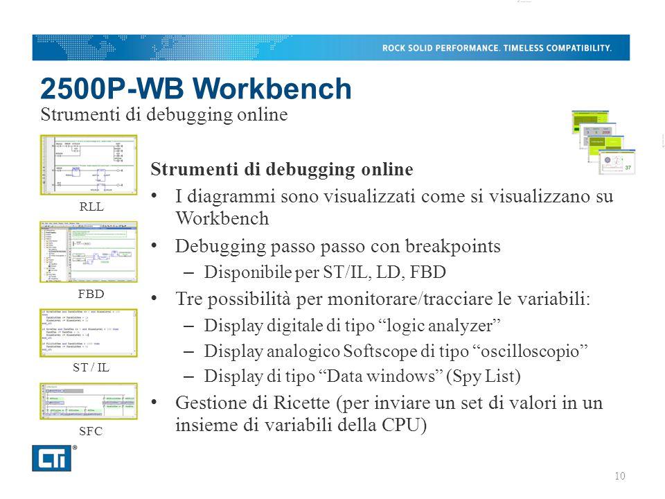 2500P-WB Workbench Strumenti di debugging online I diagrammi sono visualizzati come si visualizzano su Workbench Debugging passo passo con breakpoints – Disponibile per ST/IL, LD, FBD Tre possibilità per monitorare/tracciare le variabili: – Display digitale di tipo logic analyzer – Display analogico Softscope di tipo oscilloscopio – Display di tipo Data windows (Spy List) Gestione di Ricette (per inviare un set di valori in un insieme di variabili della CPU) Strumenti di debugging online RLL FBD ST / IL SFC 10