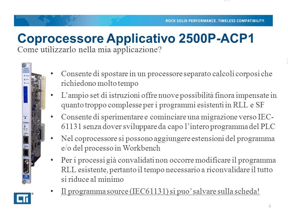 Coprocessore Applicativo 2500P-ACP1 Consente di spostare in un processore separato calcoli corposi che richiedono molto tempo L'ampio set di istruzioni offre nuove possibilità finora impensate in quanto troppo complesse per i programmi esistenti in RLL e SF Consente di sperimentare e cominciare una migrazione verso IEC- 61131 senza dover sviluppare da capo l'intero programma del PLC Nel coprocessore si possono aggiungere estensioni del programma e/o del processo in Workbench Per i processi già convalidati non occorre modificare il programma RLL esistente, pertanto il tempo necessario a riconvalidare il tutto si riduce al minimo Il programma source (IEC61131) si puo' salvare sulla scheda.