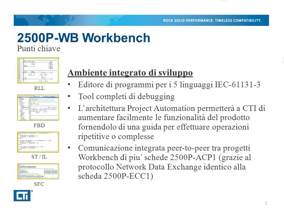 2500P-WB Workbench Ambiente integrato di sviluppo Editore di programmi per i 5 linguaggi IEC-61131-3 Tool completi di debugging L'architettura Project Automation permetterà a CTI di aumentare facilmente le funzionalità del prodotto fornendolo di una guida per effettuare operazioni ripetitive o complesse Comunicazione integrata peer-to-peer tra progetti Workbench di piu' schede 2500P-ACP1 (grazie al protocollo Network Data Exchange identico alla scheda 2500P-ECC1) Punti chiave RLL FBD ST / IL SFC 5