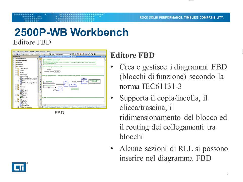 2500P-WB Workbench Editore FBD Crea e gestisce i diagrammi FBD (blocchi di funzione) secondo la norma IEC61131-3 Supporta il copia/incolla, il clicca/trascina, il ridimensionamento del blocco ed il routing dei collegamenti tra blocchi Alcune sezioni di RLL si possono inserire nel diagramma FBD Editore FBD FBD 7