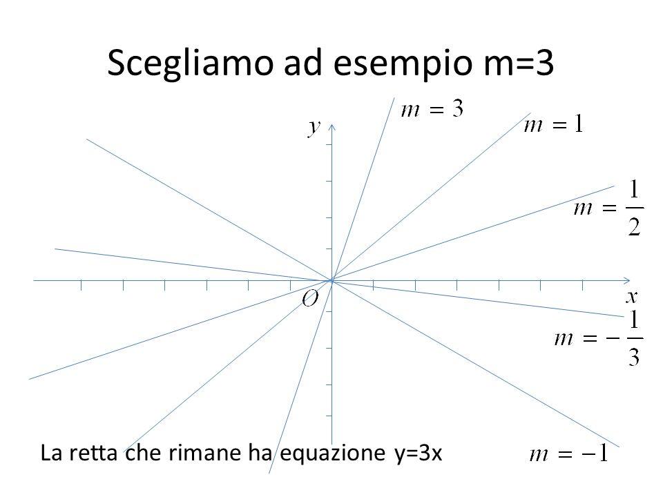 Scegliamo ad esempio m=3 La retta che rimane ha equazione y=3x
