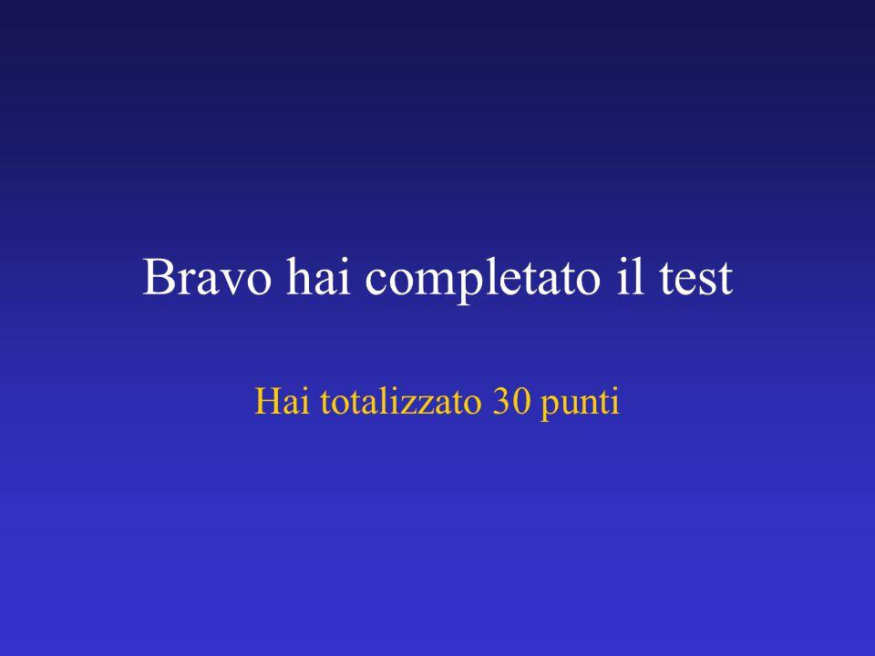 Bravo hai completato il test Hai totalizzato 30 punti