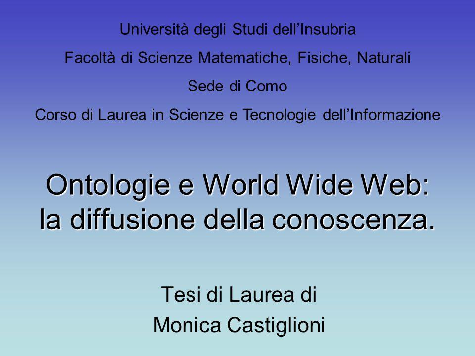 Obiettivi della Tesi Data l'importanza delle comunicazioni nella società umana, si è cercato di capire: quali sono i linguaggi utilizzati per la comunicazione della conoscenza su Web; cosa sono e come vengono sviluppate le ontologie; quali sono le più importanti ontologie mediche; quali sono le attuali applicazioni delle ontologie mediche.